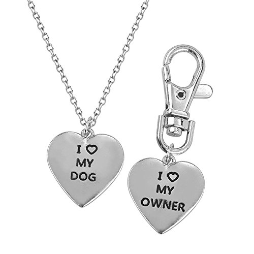 Love my Dog/Owner by Luvalti -Necklace & Keychain Set - Necklace for Animal Lovers (Personalized Heart Charm Ring)
