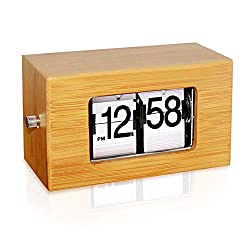 KABB Natural Bamboo Material Modern Digital Mechanical Retro Flip Dоwn Clock wіth Internal Gear Operated (5.5 Inch White)