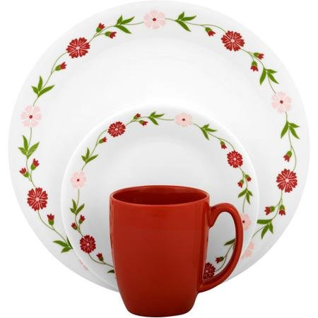 Corelle Livingware Spring Pink 16-Piece Dinnerware Set, Fade, Scratch and Chip Resistant (Corelle Pink Dishes)