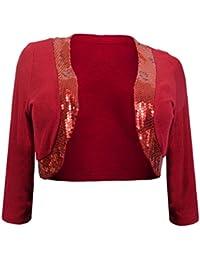 eVogues Plus Size Sequin Trim 3/4 Sleeve Cropped Bolero Shrug