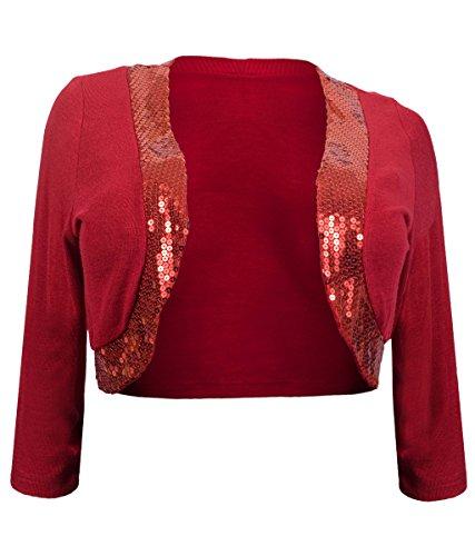 eVogues Womens' Sequin Trim 3/4 Sleeve Cropped Bolero Shrug Red - 3X