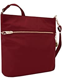 Women's Anti-Theft Tailored N/s Slim Cross Body Bag, Garnet, One Size