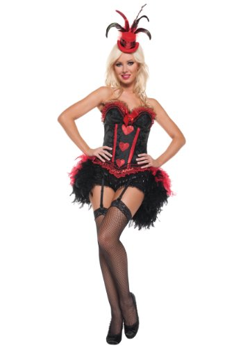 (Mystery House Cabaret Showgirl Costume, Black,)