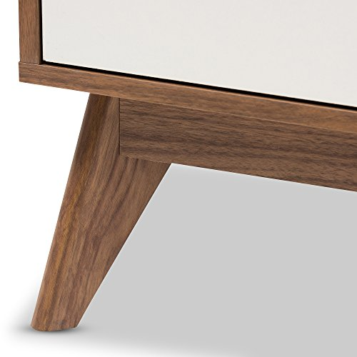 Baxton Studio 424-7504-Amz Helene Mid-Century Modern Wood 3-Drawer Storage Nightstand, White/Walnut Brown