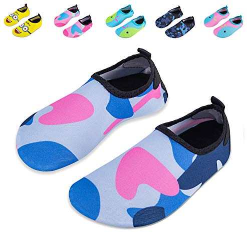 Mabove Kids Swim Water Shoes Non-Slip Quick Dry Barefoot Aqua Pool Socks Shoes for Boys & Girls Toddler (Camouflage Blue, 20/21EU) ()