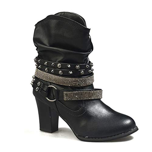 Womens Wide Calf Ankle Bootie Mid Chunky Stacked