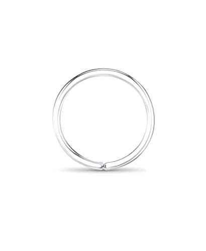 0844469cc Amazon.com: 14k White Gold Nose Hoops Seamless Nose Rings 1/4