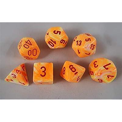 Chessex Festive Polyhedral Sunburst W/Red 7-Die Set: Toys & Games