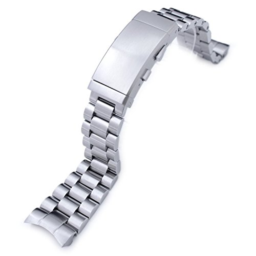 22mm Endmill 316L SS Watch Bracelet for Orient Mako II & Ray II, Ratchet Buckle Brushed