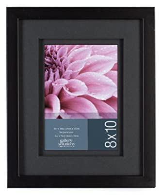Gallery Solutions Wall Frame with Airfloat Mat, 8 by 10-Inch Matted Opening to Display 5 by 7-Inch Photo, Black