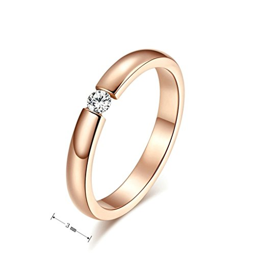Aooaz Women's Rind 18K Rose Gold Plated Ring Princess Cut AAA CZ Wedding Ring Promise Anniversary Size 8
