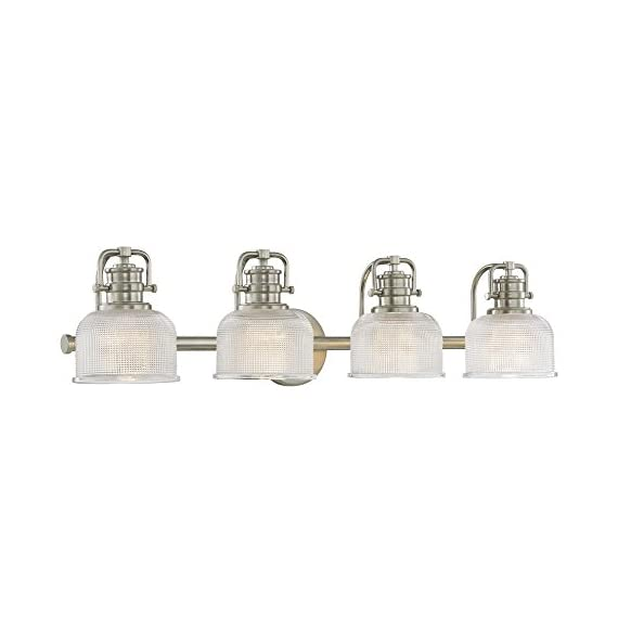 "Prismatic Glass 4-Light Bathroom Light in Satin Nickel Finish - Dimensions: 7.75""h x 33.12""l x 7.62""d Finish: Satin Nickel, Shade Color: Clear Prismatic Warranty: Fixtures, when properly installed and under normal conditions of use, are warranted to be free from defects in materials and workmanship for ONE YEAR from date of sale. - bathroom-lights, bathroom-fixtures-hardware, bathroom - 41Vy0mgEfyL. SS570  -"