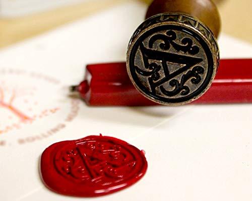(Monogram Letter Wax Seal Stamp, Classic Brass Head Wooden Handle Alphabet)