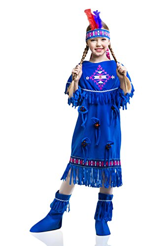 [Kids Indian Girl Halloween Costume Sacagawea Apache Cherokee Dress Up & Role Play (8-11 years)] (Red Indian Princess Costume)