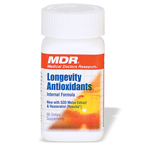 MDR Longevity Supplement with 25 Anti Aging Antioxidants like Resveratrol & Turmeric that support Energy, Heart, Brain and Skin Health (60 Tablets)