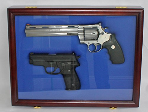 Pistol Airsoft Gun / Handgun display case shadow box, Lockable GN01 (MAHOGANY)