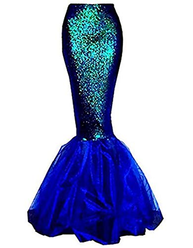 Womens Sexy Mermaid Halloween Costume Fancy Party Sequins Maxi Dress Tail Skirt (US 10, Blue)