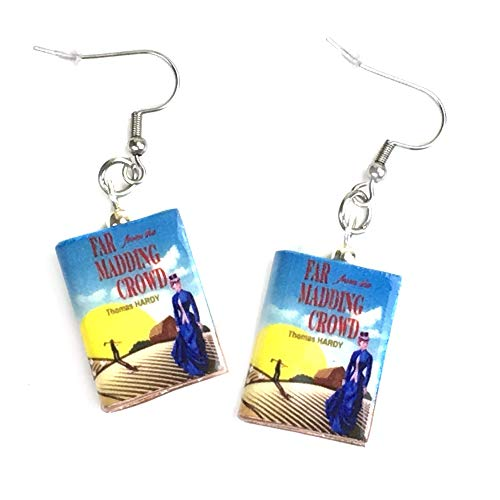 Far from the Madding Crowd Thomas Hardy Clay Mini Book Hypoallergenic Stainless Steel Hook Earrings (Thomas Hardy Far From The Madding Crowd Summary)