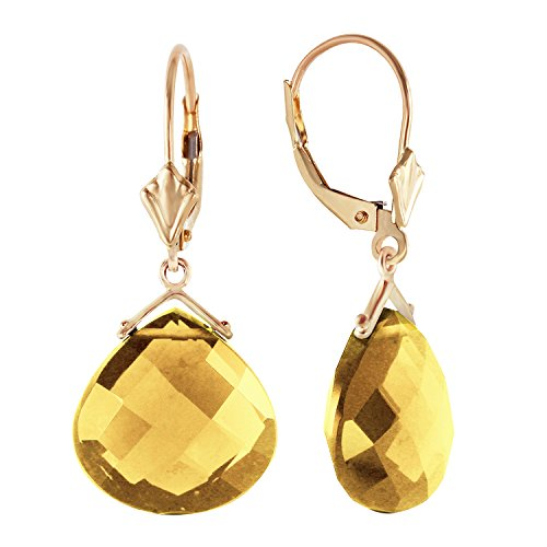 old Leverback Earrings with Checkerboard Cut Citrine Drop ()