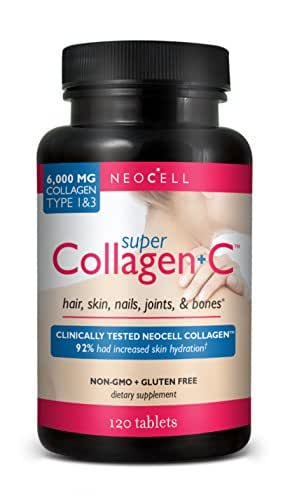 Neocell Super Collagen Type 1 and 3 plus Vitamin C Tablets, 120 Count