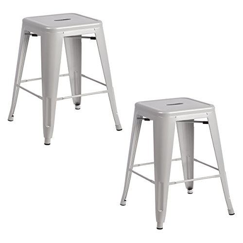 New Set Of Metal Frame Tolix Style Bar Stool Industrial Chair (2, 24