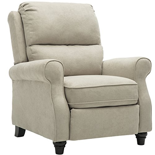 BONZY Manual Recliner Chair Roll Arm and Pushback Mechanism Recliner Chair - Buff ()