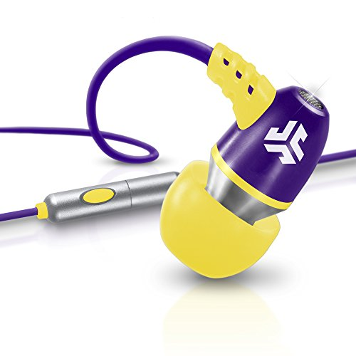 JLab Audio  NEON Metal In-Ear Earbuds with Universal Mic for iPhone & Android, GUARANTEED FOR LIFE - Purple/Yellow