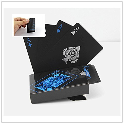 Poker Playing Cards Set - BeeSpring Waterproof PVC Playing Cards Set Pure Color Black Poker Card Classic Magic Tricks Tool, 54pcs/Deck
