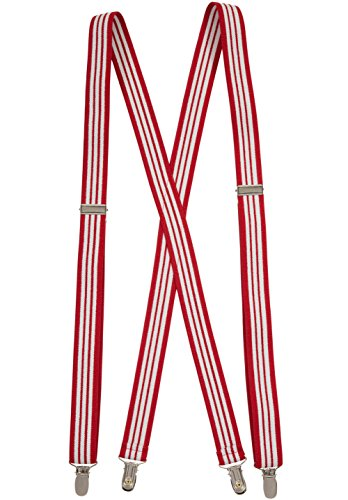 Suspenders for Women Elastic X-back Adjustable Straight Clip on - Red and White Striped (Regular 46