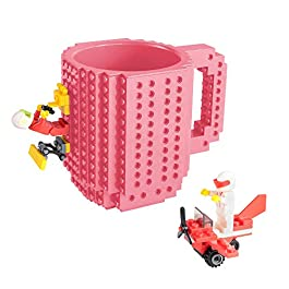 Build-on Brick Mug, Coffee Cup with 2 Pack Building Blocks Toys Set, Novelty Creative DIY Funny Coffee Mugs Toy for Kids Party Favor Travel , 350ml Bottle Puzzle Boys Bricks Cup (Pink)