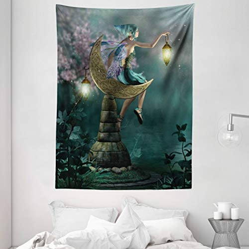 Ambesonne Fantasy Tapestry, Little Pixie with Lantern Sitting Moon Stone Fairytale Myth Artwork, Wall Hanging for Bedroom Living Room Dorm, 60 X 80 , Teal Lilac
