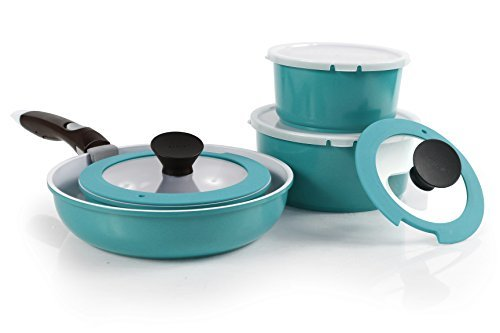 Neoflam Midas PLUS 9-piece Ceramic Nonstick Cookware Set with Detachable Handle, Emerald Green, Space-Saving by Neoflam