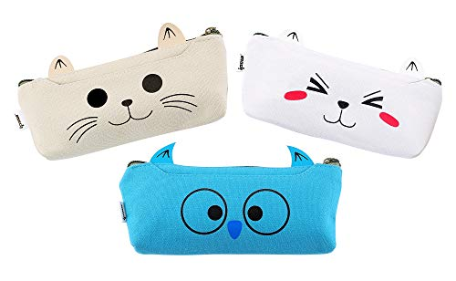 (IPOW 3 Pack Adorable Cute Animal Cat Dog Owl Canvas Cosmetic Pencil Bag Pen Case,Students Stationery Pouch Zipper Bag for School Supplies,Tools,Gadgets)