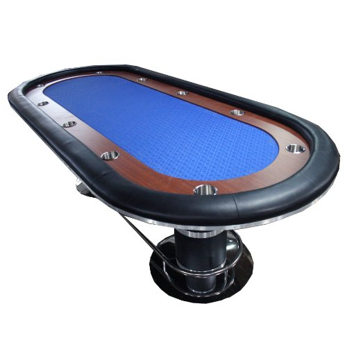 IDS Poker Poker Table for 10 Players Oval 96 x 43 Inch Racetrack Cup Holders Blue Speed Cloth Stainless Pedestal Base ()