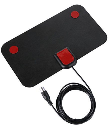 (50 Miles Mini Thin Flat Indoor Antenna Aerial HD TV HDTV VHF UHF DTV Black)