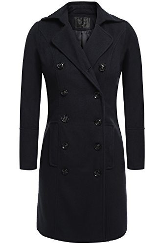 Jingjing1 Women's Vintage Turn-Down Collar A-Line Long Trench Coat Button Closure Dress British Style (XXL, Black) - Collar A-line Coat