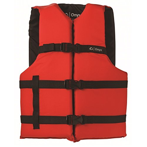 "ONYX General Purpose Boating Life Jacket, Adult Oversize Size (40""-60""), Red"