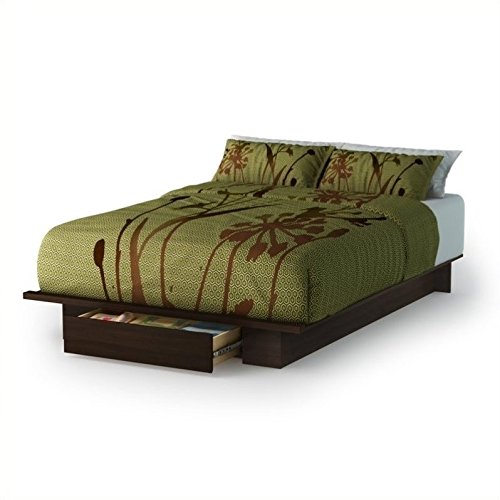 South Shore Trinity Collection Platform Bed with Drawer, Mocha