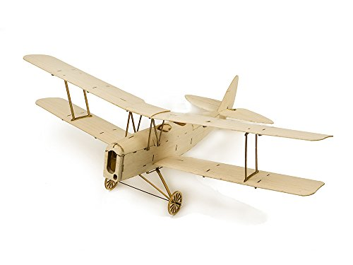 (Dancing Wings Hobby K1001 Micro Indoor Balsa Wood Electric Airplane 400mm De Havilland DH82a Tiger Moth ;Balsa Laser-Cut Aircraft Kit to)