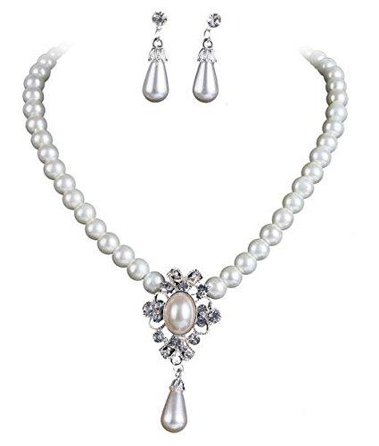 Trachtenschmuck Perlen Dirndl Collier Kristall Crystal Baroque Anhänger weiss & Ohrringe - Schmuckset