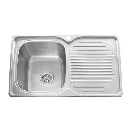 "Naiture 32"" Stainless Steel Rectangular Drop-In Prep Sink With Drainboard With Single Faucet Hole"