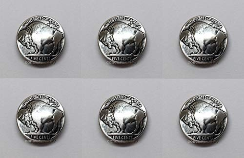 "Conchos for Clothes Set of 6 Antique Buffalo Nickel Reproduction Coin Conchos 7/8"" Screw Back from OutletBestSelling"