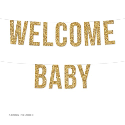 Andaz Press Real Glitter Paper Pennant Hanging Banner, Welcome Baby, Gold Glitter, Includes String, Pre-Strung, No Assembly Required, (Welcome Baby)