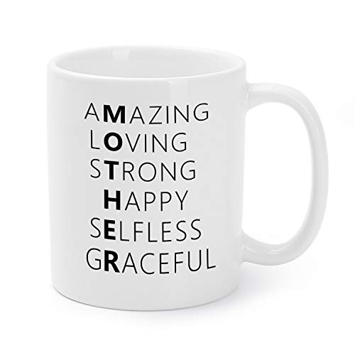 Mothers Day Mugs Birthday Presents/Gifts For Mommy/Mom Amazing/Loving/Strong/Happy/Selfless/Graceful Coffee/Tea Cups 11 Oz