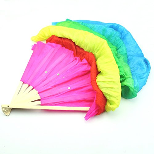 Hot Hand Made Colorful Belly Dance Dancing Silk Bamboo Long Fans Veils For Folk Dance 1.8M