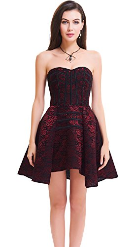 [Topmelon Womens Sexy Gothic Lace Up Corset Bustier Dress Short Skirt (L, Dark red)] (Steampunk Corset Dress)
