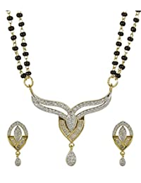 MuchMore Elegant American Diamond CZ Fashion Jewelry Traditional Mangalsutra Golden Black Beads Chain Set