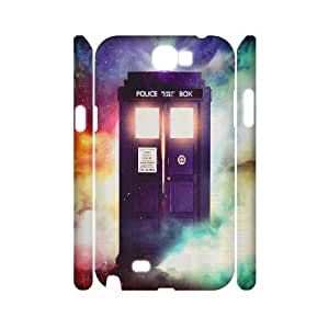 3D Doctor Who Tardis BBC Police Box Lightening Samsung Galaxy Note 2 Cases, Kyle5v {White}