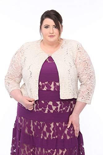 - SLEEKTRENDS Womens Plus Size Embellished Sequin LaceBolero Jacket (18W, Champagne)