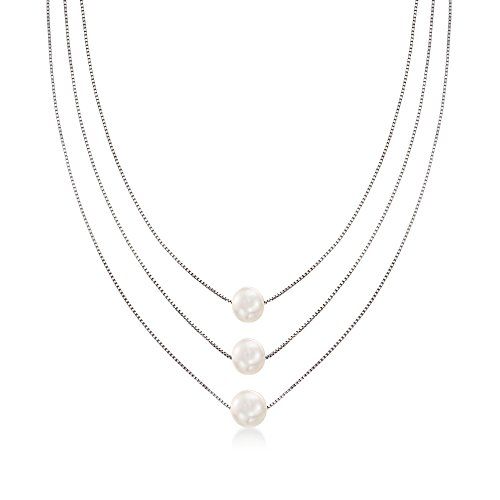 Cultured Pearl Three-Strand Layered Necklace in Sterling Silver ()